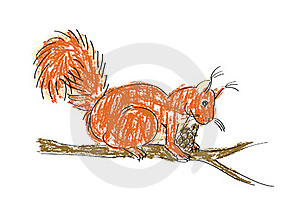 Squirrel With Pine Cone Royalty Free Stock Photos - Image: 18923668
