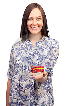 Young Woman With A British Double Deck Bus Royalty Free Stock Images - Image: 18925869
