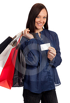 Pretty Woman Holding Shopping Bags And Credit Card Royalty Free Stock Photos - Image: 18925888