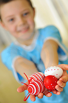 Easter Kid With Colorful Eggs Stock Photo - Image: 18931470