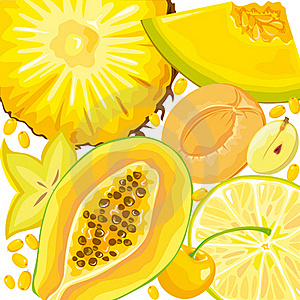 Mix Yellow Fruits And Berries Stock Photography - Image: 18934572