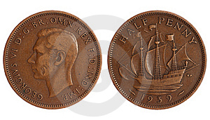 Antique Coin Of Great Britain 1918 Year Stock Photography - Image: 18935232