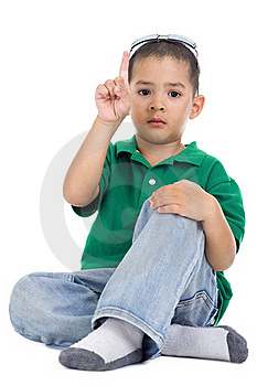Boy With One Finger Raised Royalty Free Stock Image - Image: 18938706