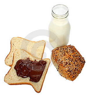 Bread With Chocolate And Milk Royalty Free Stock Photography - Image: 18942757