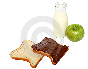Bread With Chocolate,milk And An Apple Royalty Free Stock Photo - Image: 18942795