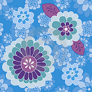 Blue Violet Flower Pattern Royalty Free Stock Photo - Image: 18948615