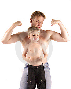 Father And Son's Big Muscles Royalty Free Stock Photos - Image: 18959218
