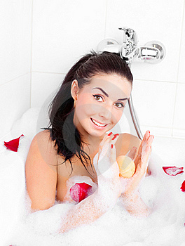 Girl Taking A Bath Royalty Free Stock Image - Image: 18960336
