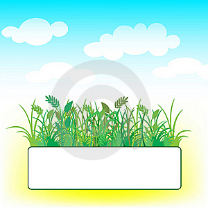 Card With Grass And Clouds Stock Photos - Image: 18960813