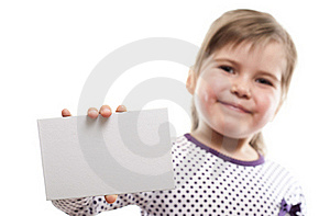 Little Girl Showing Blank Board Royalty Free Stock Photography - Image: 18962667