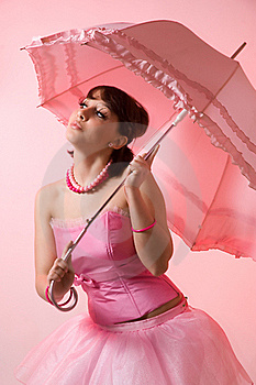 The Girl With An Umbrella Royalty Free Stock Photography - Image: 18964887