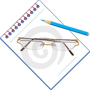 Glasses And Notepad With Pencil Stock Photography - Image: 18967292