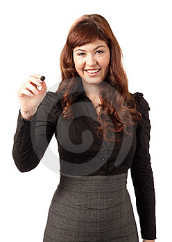 Elegant Business Woman Writing With A Black Pen Royalty Free Stock Photo - Image: 18969365