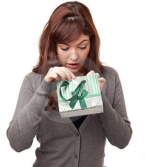 Woman With A Present Stock Photo - Image: 18969450