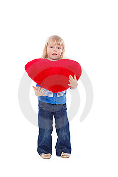 Little Girl With Red Heart At Hands Royalty Free Stock Photos - Image: 18970928
