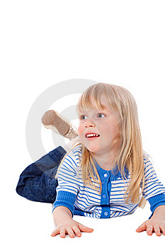 Lying Little Blonde Girl Royalty Free Stock Images - Image: 18970929