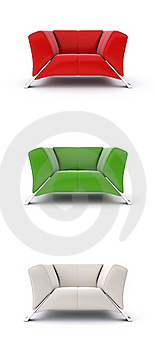 3d Multi-colored Armchairs Royalty Free Stock Image - Image: 18970936