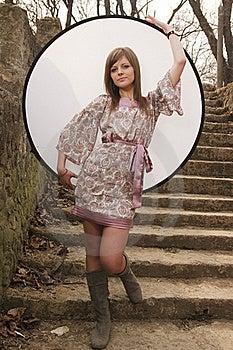 Girl Posing With Reflector Stock Photos - Image: 18971503