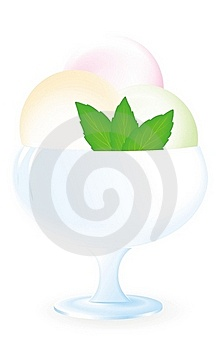 Ice Cream With Mint In Blue Vase Stock Photo - Image: 18972050