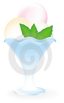 Ice Cream With Mint In Blue Vase Stock Photography - Image: 18972052
