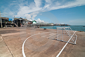 Wooden Soccer Field At  Panyee Island, Thailand. Royalty Free Stock Photography - Image: 18974957