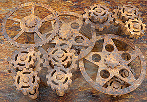 Mechanism Of Gears Rusted Royalty Free Stock Photography - Image: 18975097