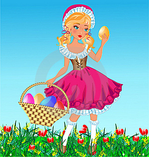 Girl With Eggs In Basket Stock Image - Image: 18975111