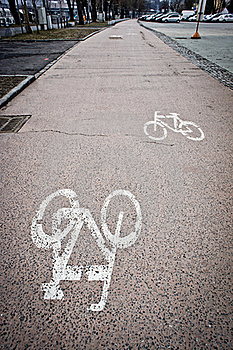 Painted Cycle Lane Stock Image - Image: 18975781