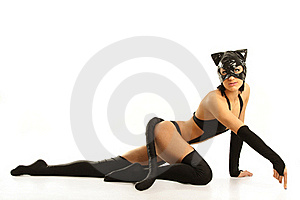 Model In Latex Cat Costume Stock Photos - Image: 18976023