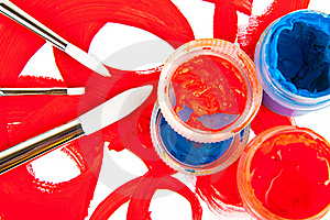Three Brushes And Tubes With Paint Royalty Free Stock Photography - Image: 18976847