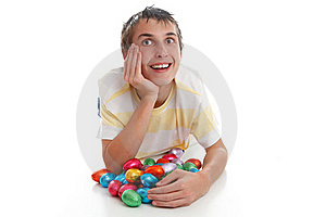 Boy With Easter Eggs And Looking Up Stock Images - Image: 18977314