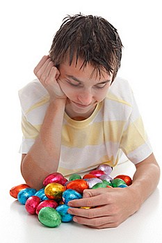 Boy With Lots Of Easter Eggs Royalty Free Stock Images - Image: 18977339