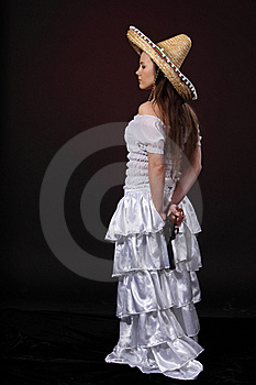 Mexican Girl Hold Revolver Stock Photography - Image: 18977922