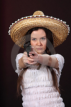 Mexican Girl Hold Revolver Stock Photo - Image: 18977930