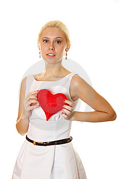 Young Woman Holding Red Heart Stock Image - Image: 18978351