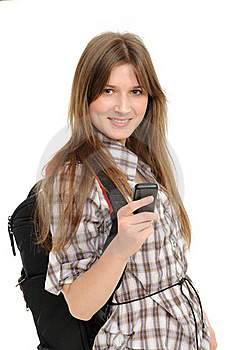 Young Woman Using Cell Phone Royalty Free Stock Image - Image: 18980756