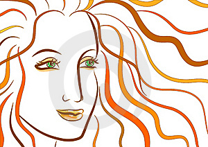Beautiful Face Of Woman With Ginger Wavy Hair Stock Image - Image: 18981641