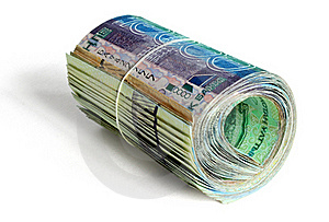 Roll Of 10000 Tenge Royalty Free Stock Image - Image: 18982176