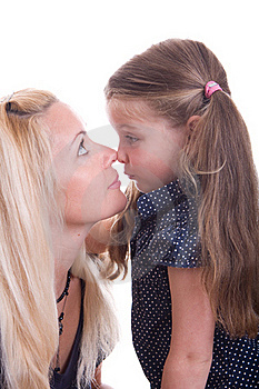 Lovely Girl Kissing Her Mother Stock Images - Image: 18985624