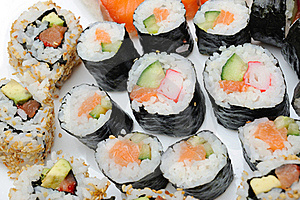 Different Types Of Maki Sushi In Sushi Set Stock Photo - Image: 18989160