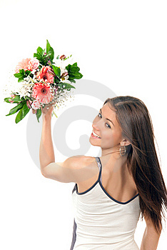 Woman Throw Away Flowers Roses Wedding Bouquet Royalty Free Stock Image - Image: 18989316