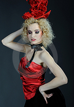 Beautiful Show Cabaret Girl With Stage Make-up Royalty Free Stock Photography - Image: 18989327