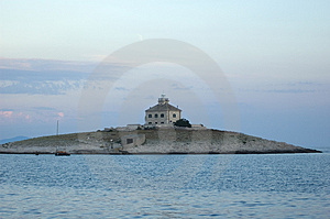 Church-lighthouse On Small Island Stock Photos