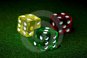 Red Yellow And Green Dice Stock Photography