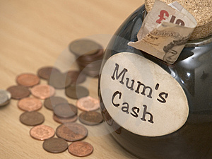 Mumscontant geld Stock Foto's