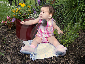 Baby In Garden Free Stock Photography