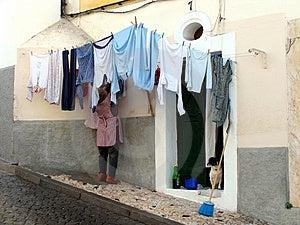 清洗洗衣店 免版税图库摄影