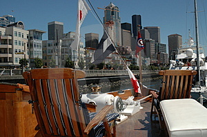 View of Skyline from boat deck Royalty Free Stock Photo
