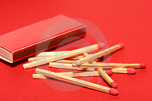 Red Matches With Box On Red Stock Images - Image: 1904094