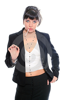 Beauty Brunette Business Lady With Cigarette Stock Photo - Image: 1908460
